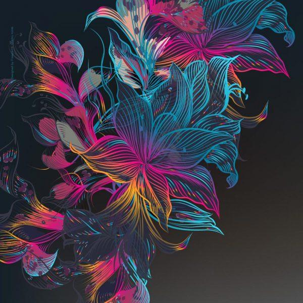1016-פרחים מצוירים רקע כהה