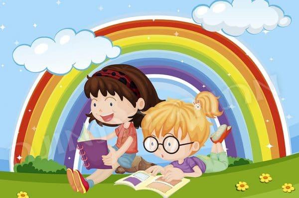 ילדות קוראות קשת בענן