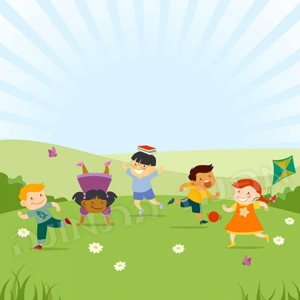 ילדים שמחים בשדה